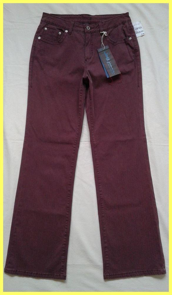 NWT $79 JAG JEANS BORDEAUX RED FOSTER FLAIR STRAIGHT LEG STRETCH DENIM PANTS 10 #JagJeans #StraightLeg