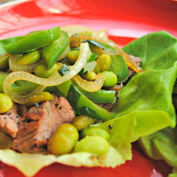 """shells"""" and are totally delish! Lettuce Tacos with Sesame-Cumin Beef ..."""