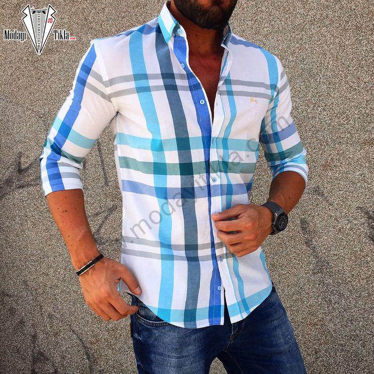 Burberry Beyaz-Mavi Çizgili Gömlek