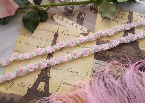 Heirloom LK Blush Pink French Ribbon ROSE trim w Mint green Leaves Hand embroidered Embellishment