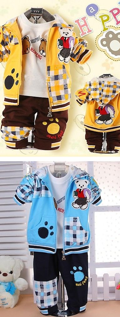 Top among kids' toys - Teddy Bear!  Funny teddy bear  theme three piece sport suit for boys. Find it in brown - yellow, blue - white colors at just  $17.47.