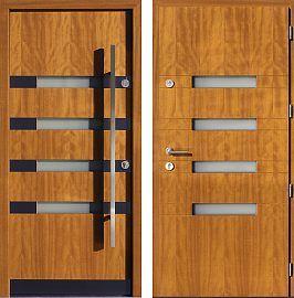 Drzwi wejściowe inox   z szybą 422,1-422,11 w kolorze jasny dąb