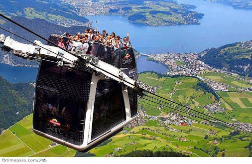 Cabrio cable car in the Swiss Alps