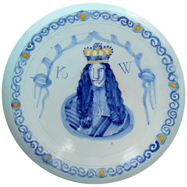 English Delftware Royal Portrait Charger of William 111, Brislington Bristol E   From a unique collection of antique and modern more-dining-entertaining at https://www.1stdibs.com/furniture/dining-entertaining/more-dining-entertaining/