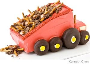 Dump Truck Birthday Cake Design   How to make a dump truck birthday cake with crushed chocolate cookies. Easy, step-by-step recipe, diagrams and pictures.  31 Incredible Birthday Cake Designs, Step-by-step recipes, designs and color pics of the easiest (and cutest) birthday cakes for boys and girls.
