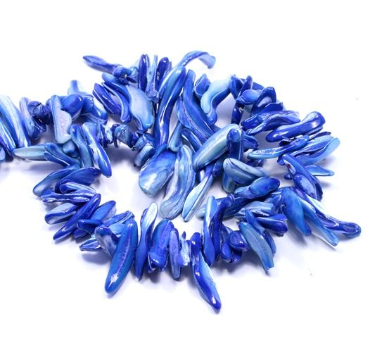 Blue shell stick beads #bigskiesjewellery #beads #shell #blue #beadstrings