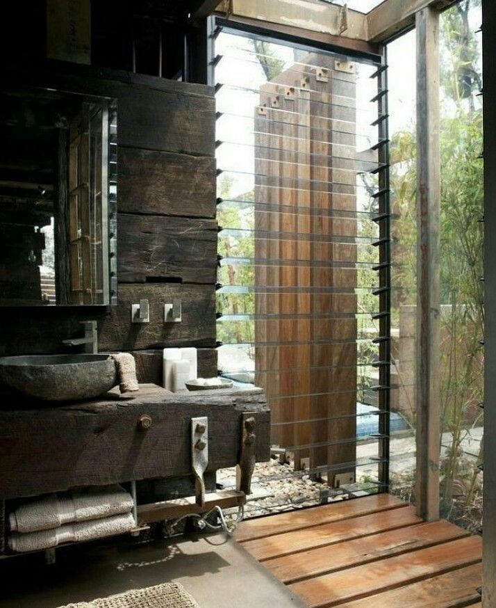Rustic Bathroom with great views