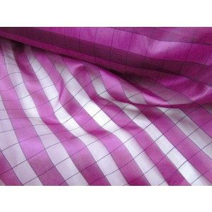 This silk organza has a checkered sheer design, holds a bit of body. A lovely high fashion, couture and costume fabric.