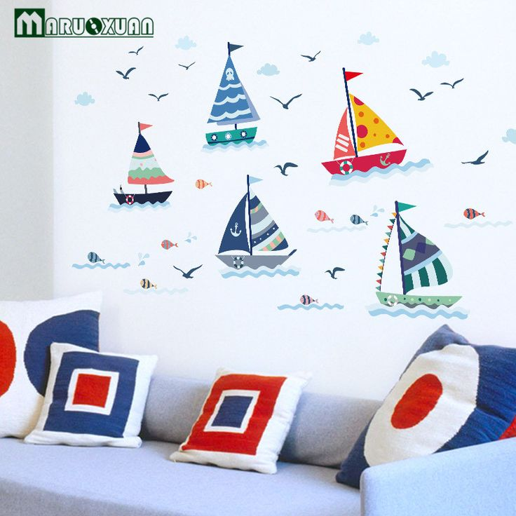MARUOXUAN Blue Ocean Seagull Sail Boat Sticker Wall Decals For Kids Nursery Room Baby Wall Stickers Vinyl Mural Wall Decals #Affiliate