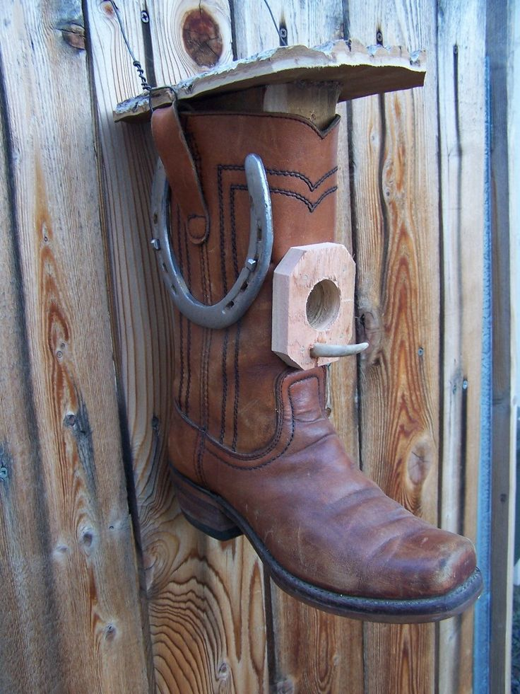 hangs from fence boot birdhouse