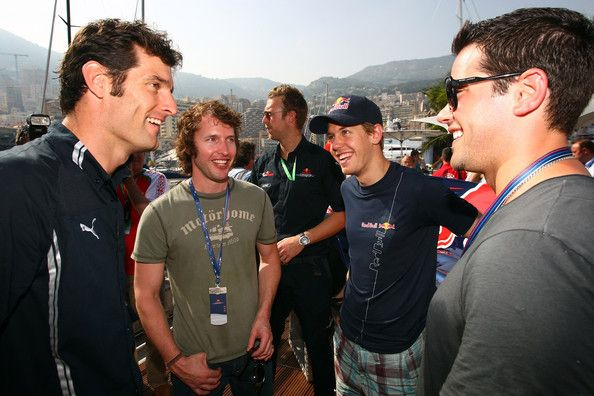 James Blunt Photos Photos - (L-R) Mark Webber, James Blunt, Sebastian Vettel and Jesse Metcalfe talk at the Red Bull hospitality centre during Qualifying at the Monaco Formula One Grand Prix at the Monte Carlo Circuit on May 23, 2009 in Monte-Carlo, Monaco.  (Photo by Gareth Cattermole/Getty Images for Red Bull) * Local Caption * James Blunt;Sebastian Vettel;Mark Webber;Jesse Metcalfe - Celebrity Sightings at the F1 Grand Prix of Monaco