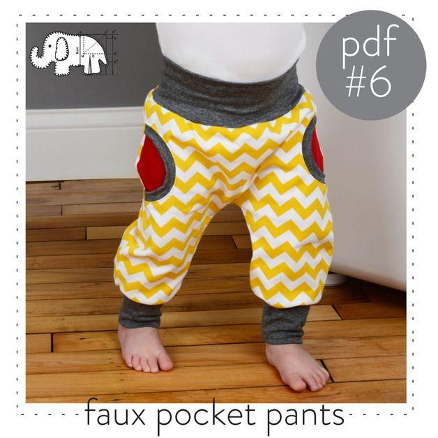Babymode - Baby-pocket broek naaien patroon DIGITAL FILE - Een uniek product van Brindille-and-Twig op DaWanda