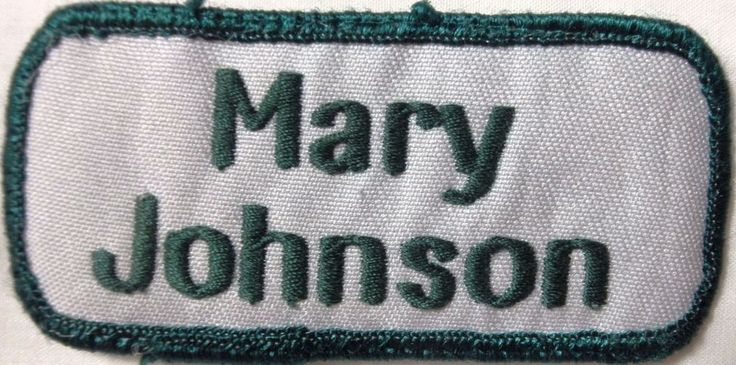 """Vintage Patches - (Name) Mary Johnson - Width 3 1/2"""" - Height 1 1/2"""" -New"""