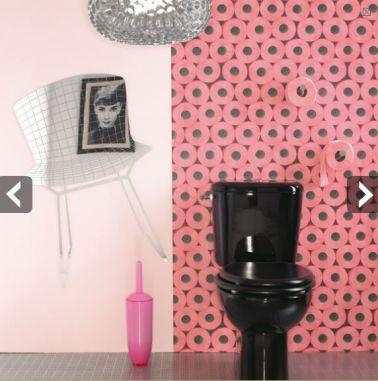 Un papier peint de circonstance pour une déco de WC qui ne manque pas d'humour !