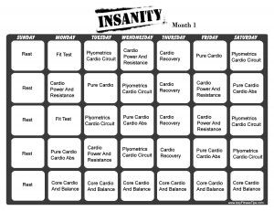 Insanity Workout Calendar    Down below you have the workout schedule for the very popular home workout Insanity.    This workout is scheduled for 60 days. Click on the pictures below to download a printable version of the Insanity workout calendar. There are two designs. One version of the first month and another of the second month.