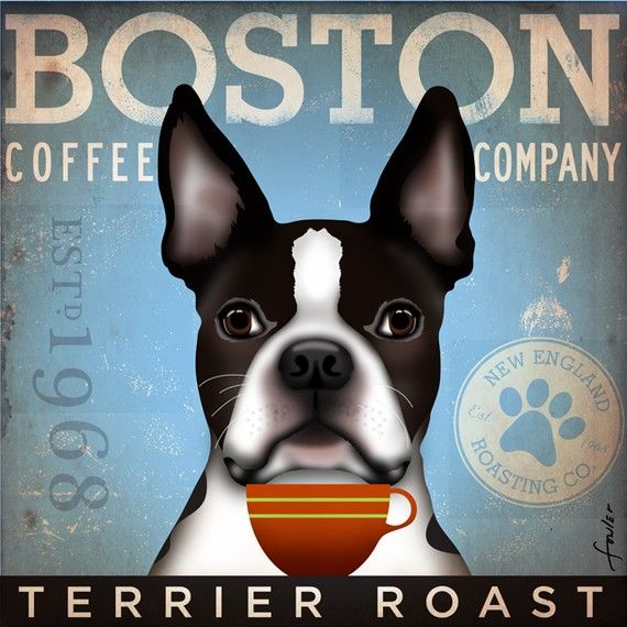 Boston Terrier Coffee Company original graphic illustration giclee archival signed artists print 12 x 12