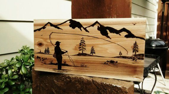 Pyrography Wood Burning Art Mountain Abstact Pine Scene Landscape Art Bonzai Art Abstact Wood Burning Art Wood Art Projects Wood Burning Stencils