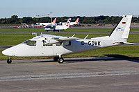 Sylt Air Partenavia P.68C D-GDVK aircraft, parked at Germany Hamburg Fuhlsbuttel International Airport. 30/09/2015.