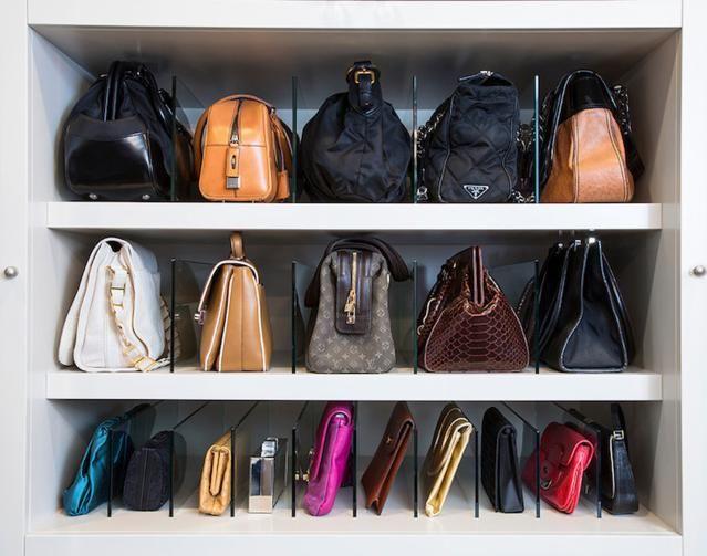 7 Clever Handbag Storage Solutions: Store handbags using shelf dividers