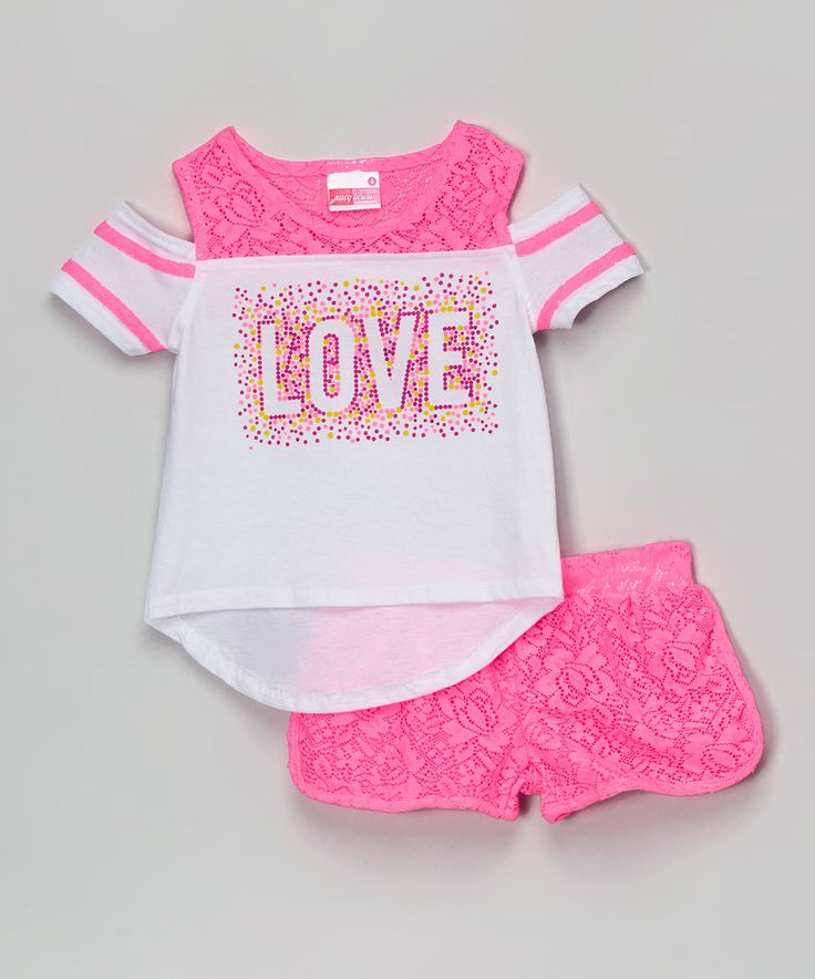 Loving this Juicylicious Pink Lace 'Love' Tee & Shorts - Girls on #zulily! #zulilyfinds