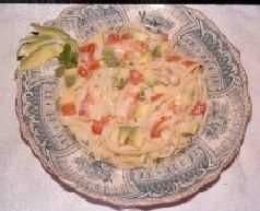 Lemon Fettuccine with Maine Lobster, Avocado, and Tomato in a White Wine Cream Sauce - Lobster Recipe