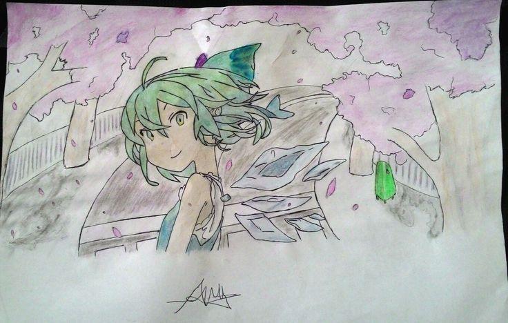 My Drawing Anime with Background (Sakura) Tried and learning for drawing background and coloring :)
