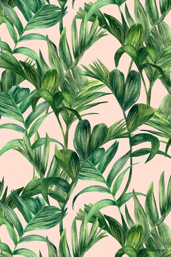 Pink and green foliage wallpaper @Coveteur