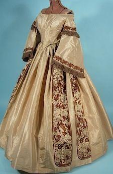Circa 1860 Evening Gown of Graige Color Shot Taffetas and Brocade with Detachable Pagoda Sleeves and Original Pelerine.
