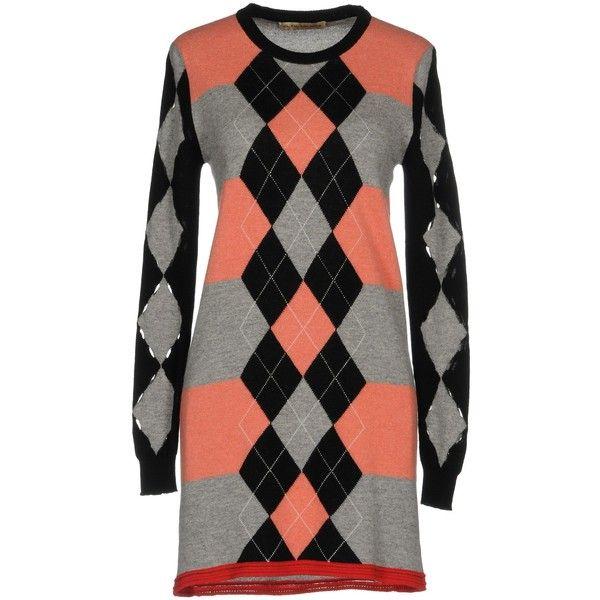 Balenciaga Short Dress (1.185 BRL) ❤ liked on Polyvore featuring dresses, salmon pink, balenciaga dress, long sleeve dress, salmon dress, wool dress and pink dress