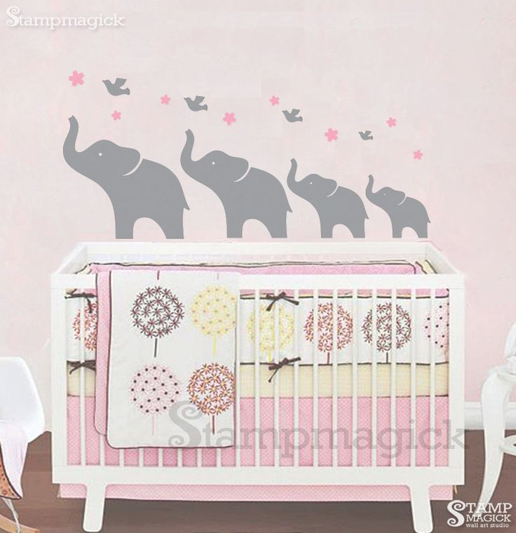 Girl Elephant Wall Decal Nursery Wall Decal K073 By Stampmagick