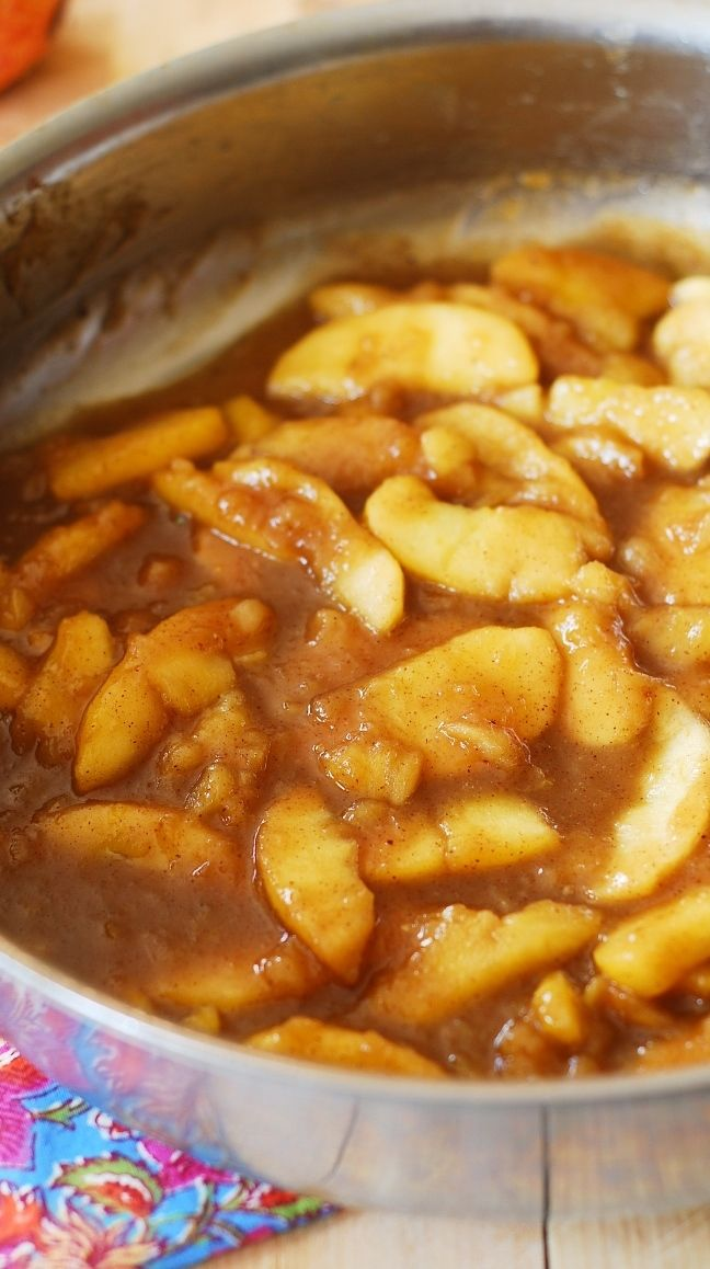 Sweet cooked apples with cinnamon, nutmeg and vanilla! Great for breakfast as a topping over pancakes, waffles, or oatmeal. They also make a wonderful dessert with vanilla ice cream! Veganise:  use vegan butter.