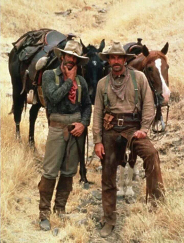 Sam Elliott as Dal & Tom Selleck as Mac Traven in The Shadow Riders (1982)