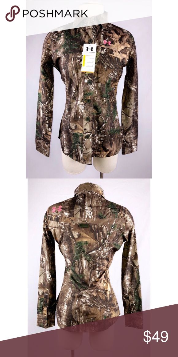 UNDER ARMOUR HUNT REAL TREE Under Armour compression button up shirt, hunt real tree camo. Women's size small. Under Armour Tops Button Down Shirts
