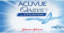 Focusop - Acuvue Oasys for Astigmatism - Contact Lens  Manufacturer:Johnson & Johnson  Type of Lense:Toric Lenses  Material:62% polymer (Senofilcon A)  Packaging:6 visibly tinted UV blocking lenses immersed in buffered saline solution  Water Content: 38% Availaibility:Out of Stock Orders ship within 4-6 business days  Weight:50 gram