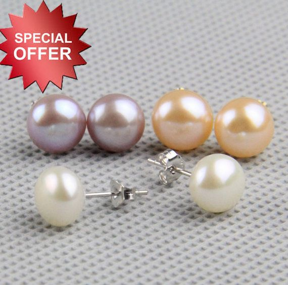 round button pearl stud earrings,real freshwater pearl earring stud ,sterling silver on Etsy, $2.95