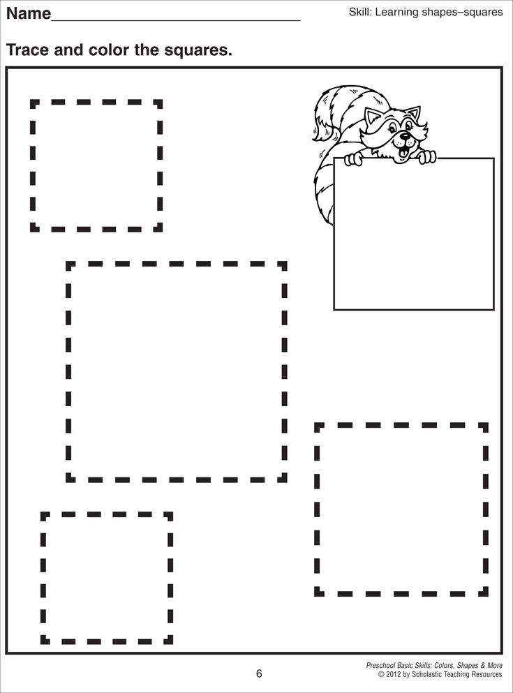 Square Tracing Worksheet Shapes and lines Pinterest