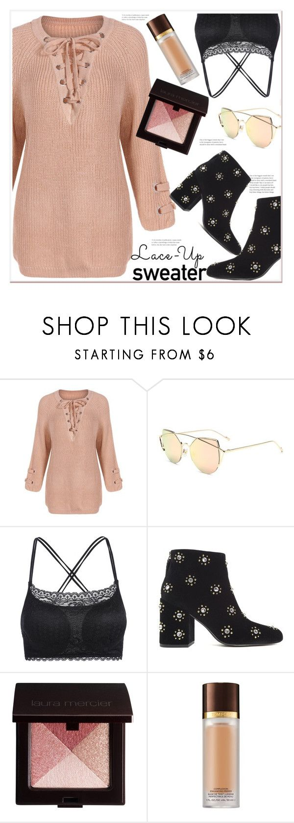 """""""lace-up sweater"""" by mycherryblossom ❤ liked on Polyvore featuring Senso, Laura Mercier and Tom Ford"""