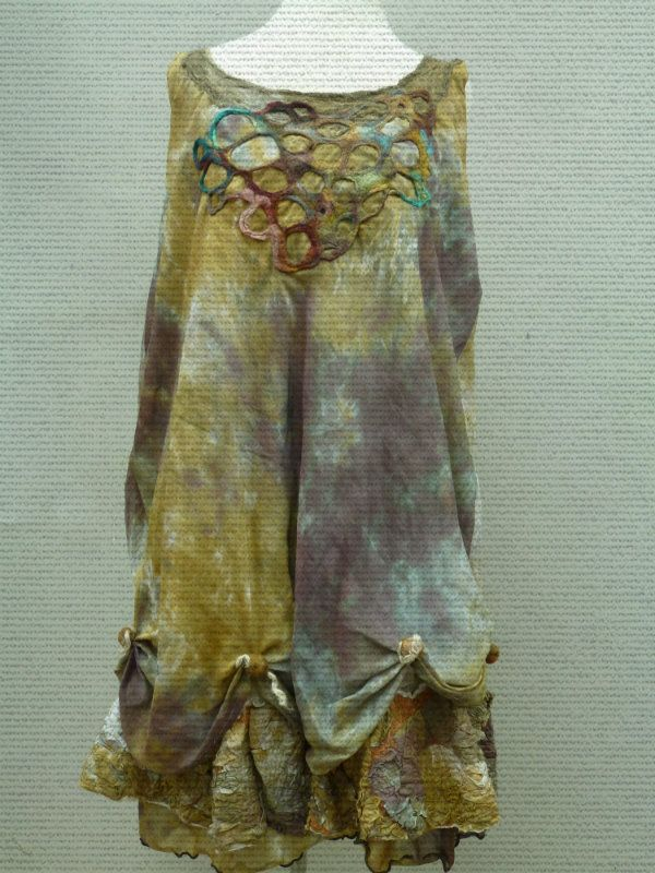 Hand Painted silk/voile dress , 2 tiered layers felt embellished neckline Beautiful neutral tones in gold, and gray