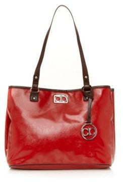 Red crosshatch patent tote bag on shopstyle.co.uk