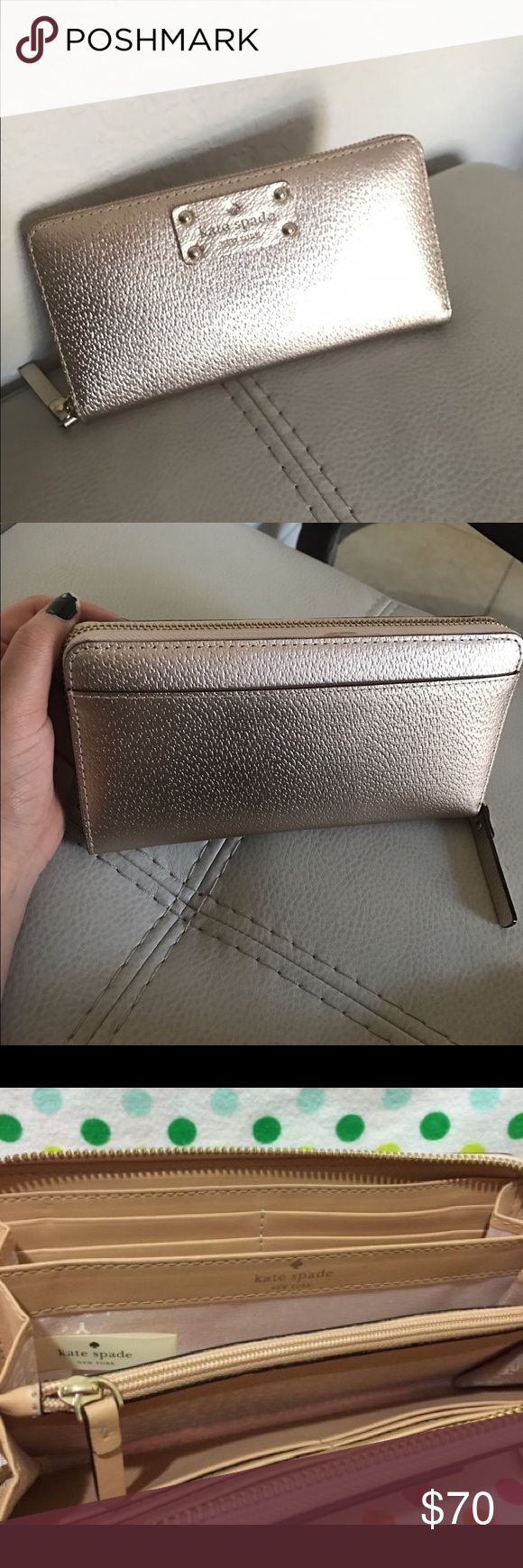 Kate spade wallet wellesley neda rose gold Excellent condition. So cute rose gold color. kate spade Bags Wallets