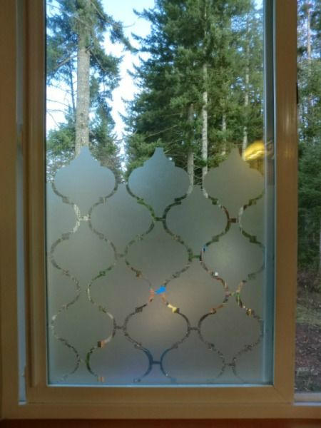 Privacy glass with clear contact paper. This could be really good for the bathroom window!