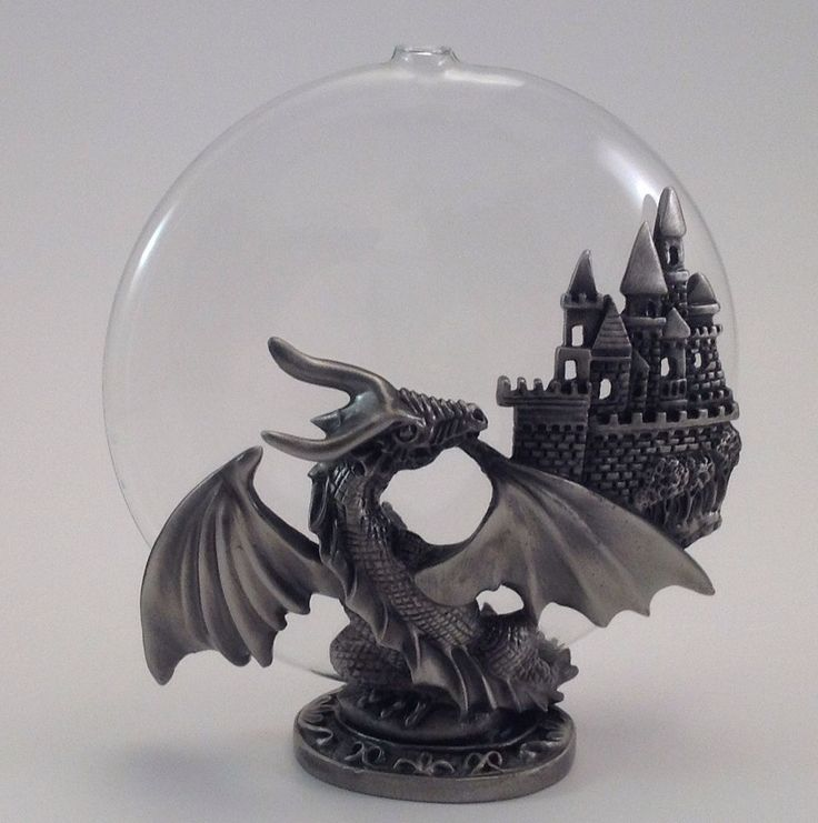 Pewter dragon castle glass round oil lamp statue mythical fantasy fairy misc figurines - Pewter dragon statues ...