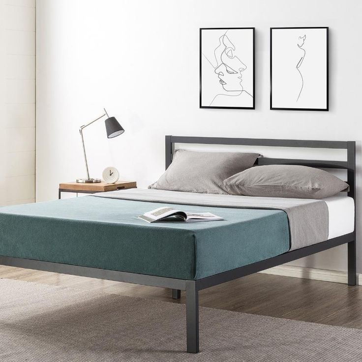 Best 14 Inch Metal Platform Bed With Headboard Wooden Slat 400 x 300