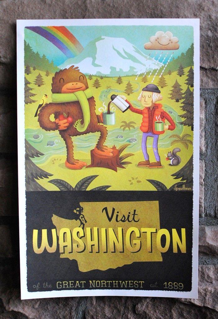 11x17 Washington State Tourism Print by dpsullivan on Etsy https://www.etsy.com/listing/68983385/11x17-washington-state-tourism-print