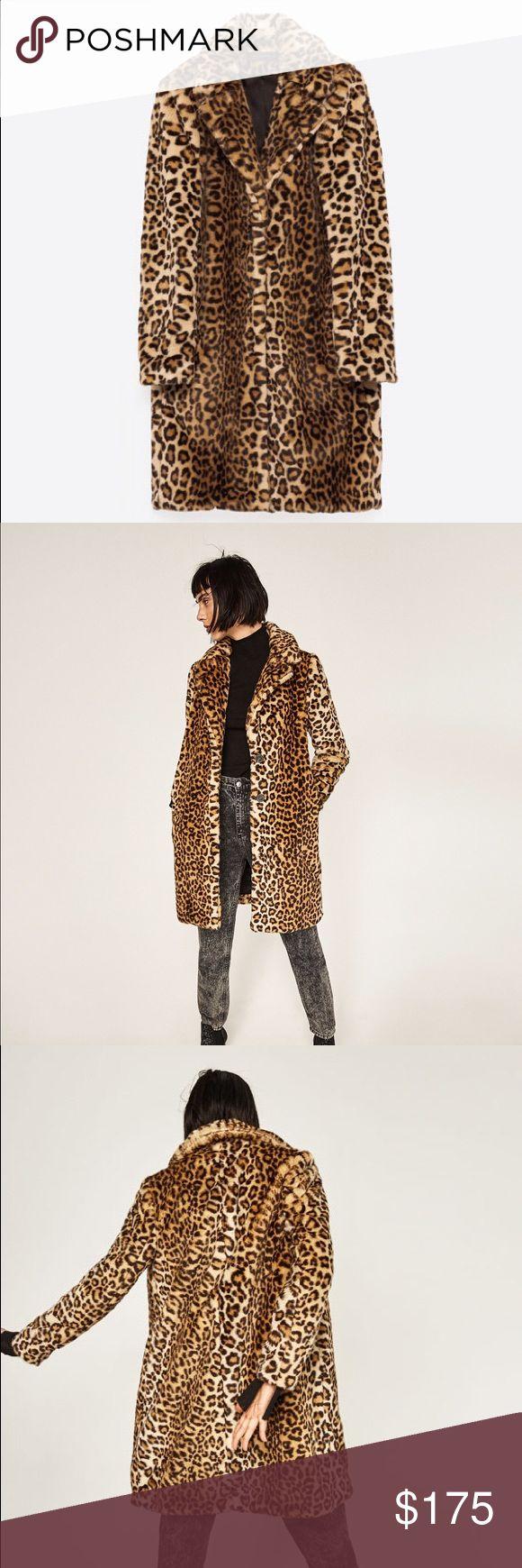 Zara parka leopard print lining