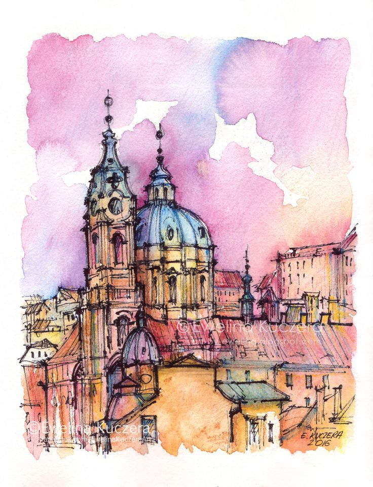 Fineliners & watercolor pencils.  #illustration #watercolor #watercolorpencils #ink #fineliners #ewelinakuczera #fabercastell #albrechtdurerpencils #drawing #sketch #urbansketch #town #buildings #architecture #czechrepublic #prague #czechia #monuments #pink #yellow #painting #art #malastrana #stnicholaschurch #church #baroque