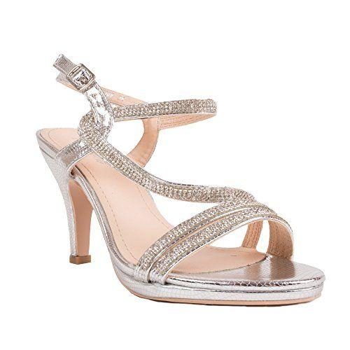 Primtex Chaussures Mariage Femme Strass & Fines lanières
