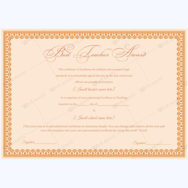 14 best Best Teacher Award Certificate Templates images on - certificate template doc