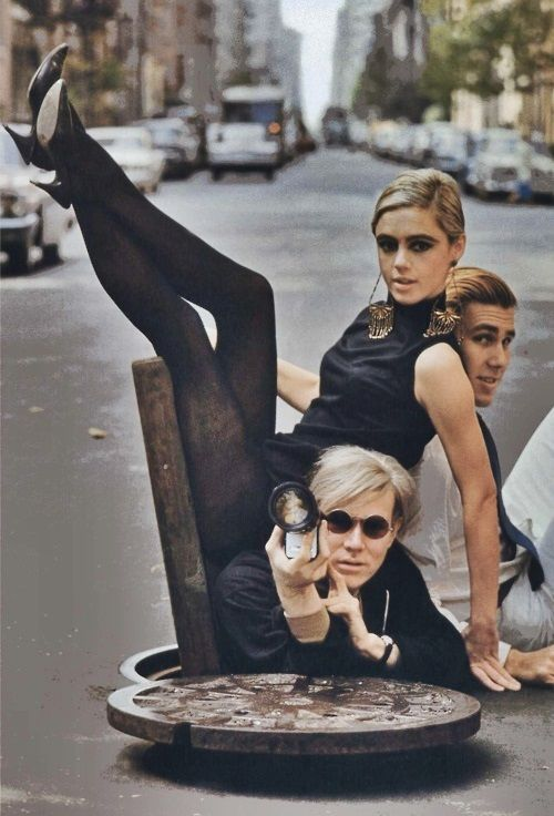 Andy Warhol, Edie Sedgwick, and Chuck Wein in New York City, 1965 by Burt Glinn