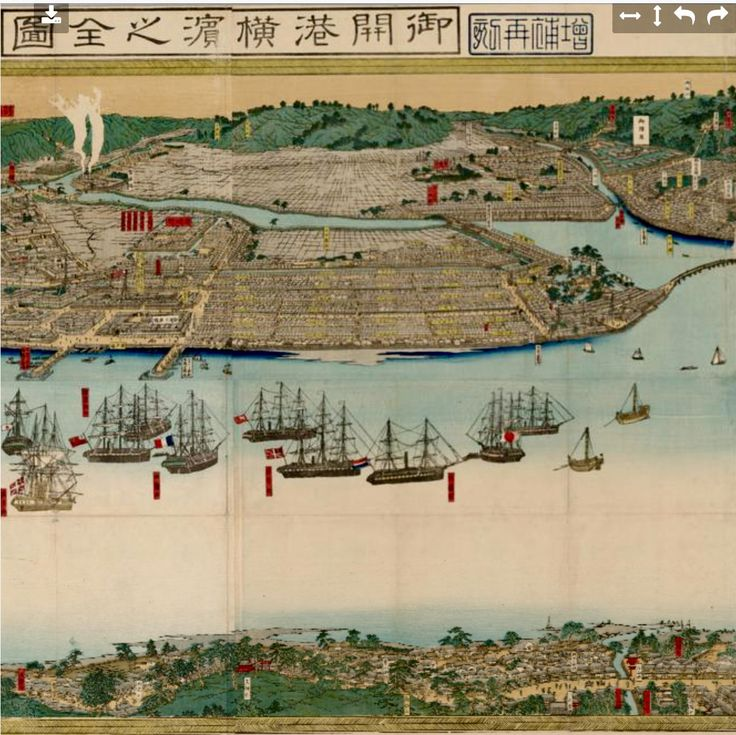 Detail. 1865 panorama of the open port of Yokohama. Sixteen large foreign ships are in foreground, with several other foreign and many Japanese ships nearby. By Utagawa, Sadahide, 1807-1873. University of British Columbia Library.